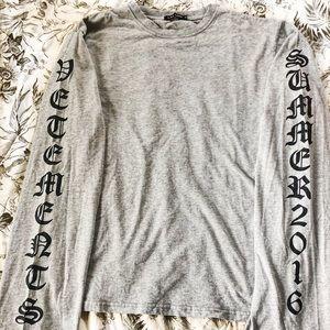 Gray Text on Sleeve Long Sleeve